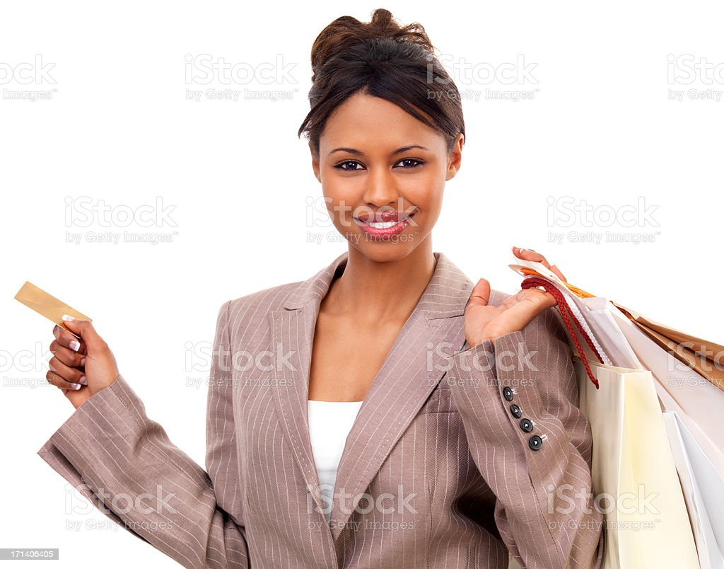 Beautiful young woman shopping stock photo
