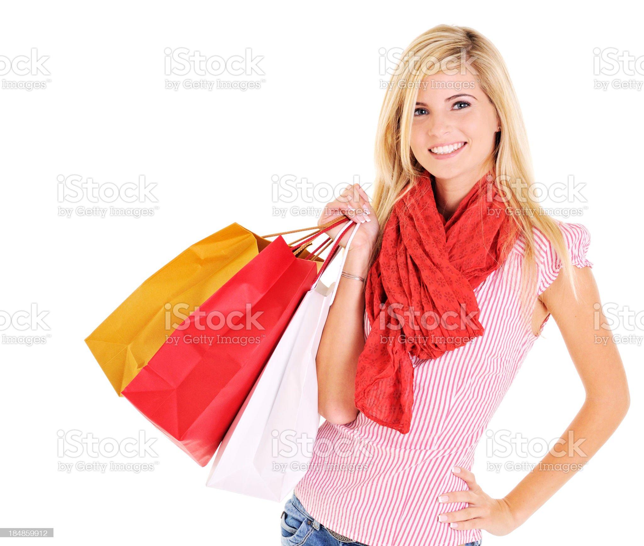 Beautiful young woman shopping royalty-free stock photo