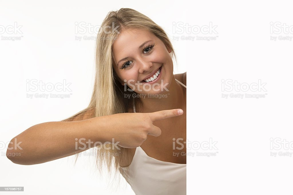 Beautiful Young Woman Showing A Blank Sign royalty-free stock photo