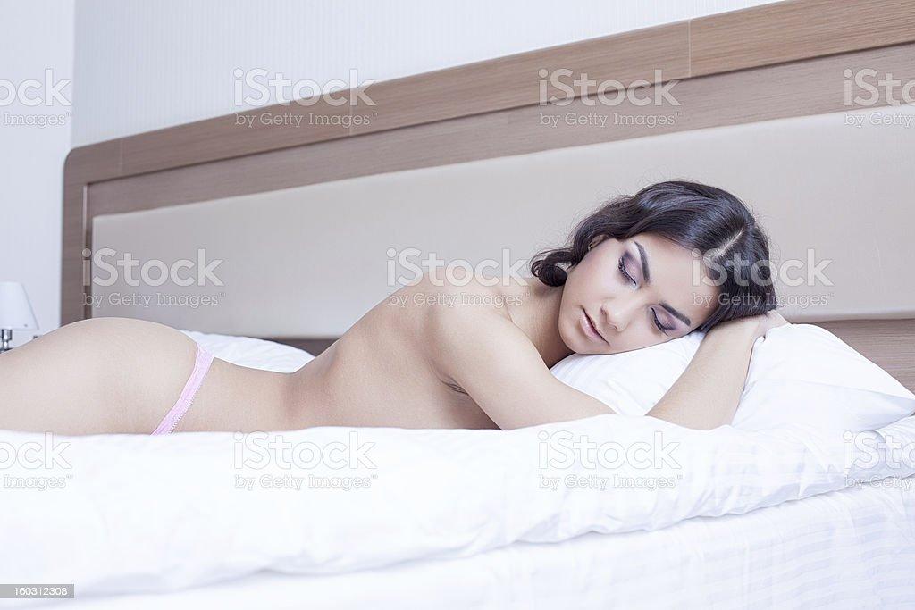 Beautiful young woman sleep on morning bedrom royalty-free stock photo