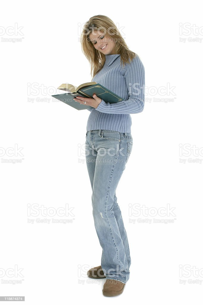 Beautiful Young Woman Standing With Book Open royalty-free stock photo