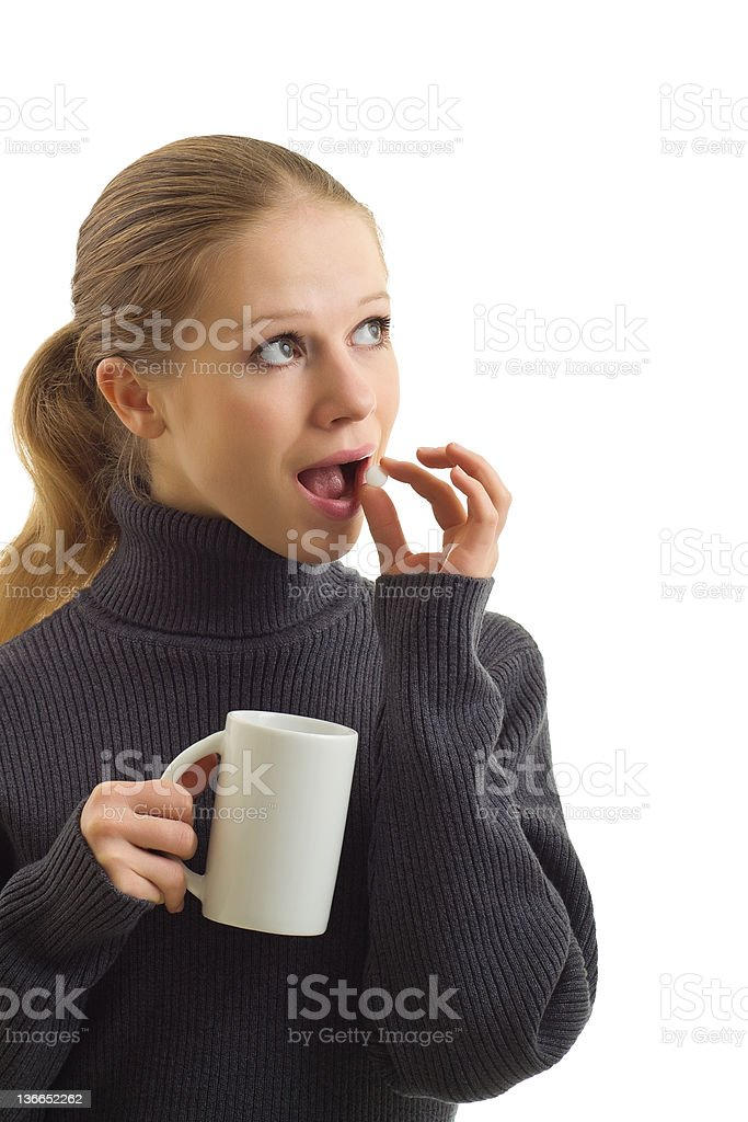 beautiful young woman taking a tablet royalty-free stock photo