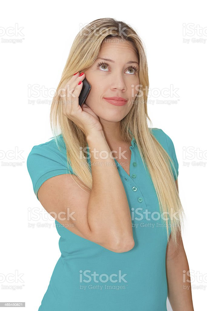 Beautiful young woman  talking on phone stock photo