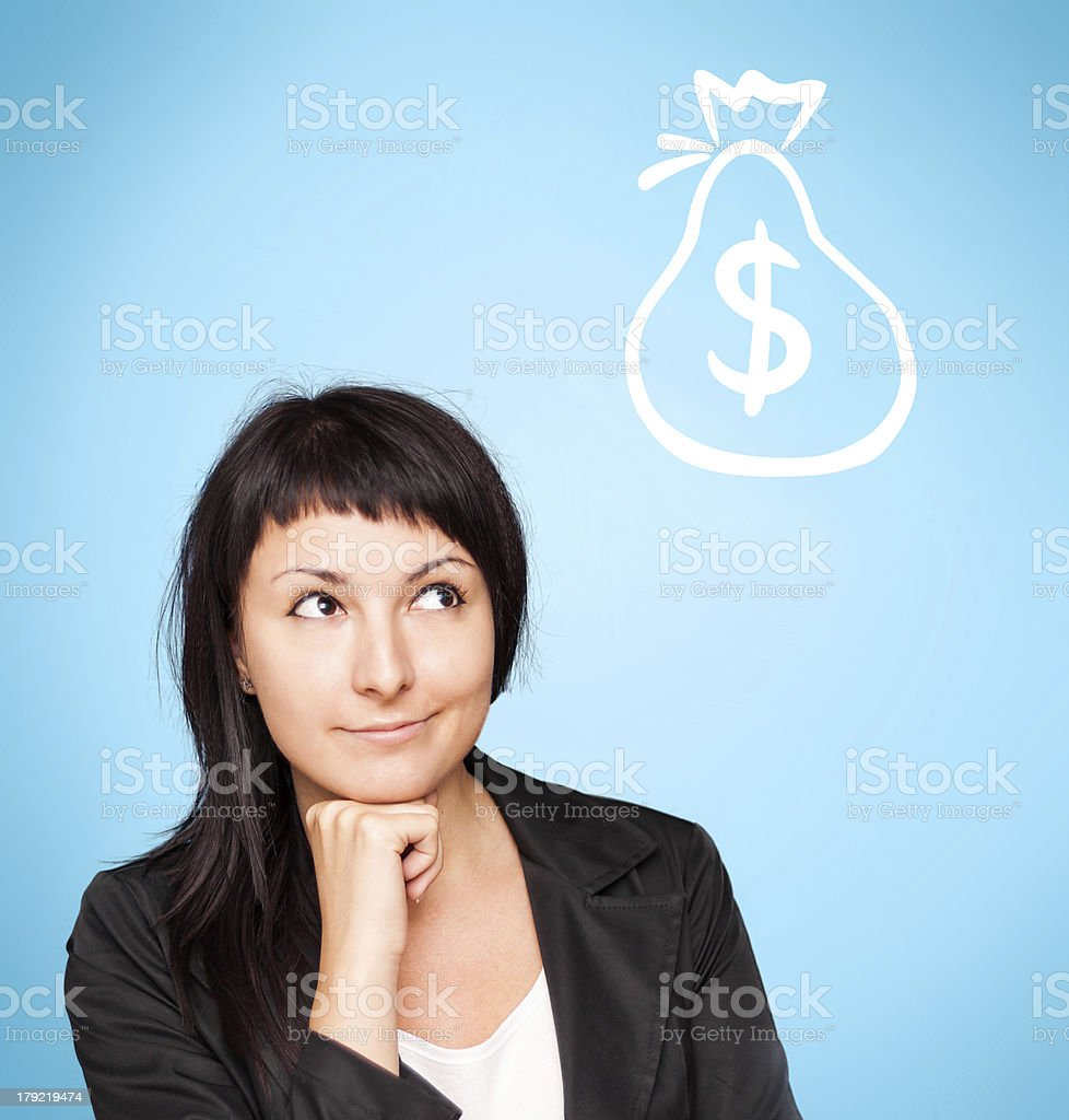 Beautiful young woman think about money royalty-free stock photo