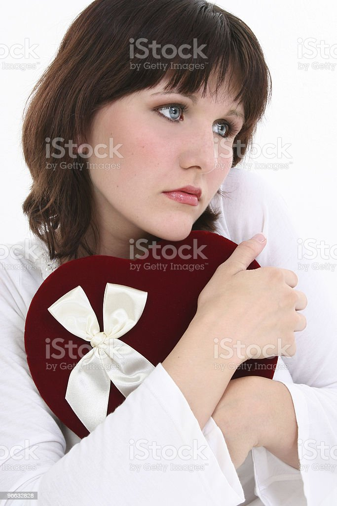 Beautiful Young Woman Thinking of Her Valentine royalty-free stock photo
