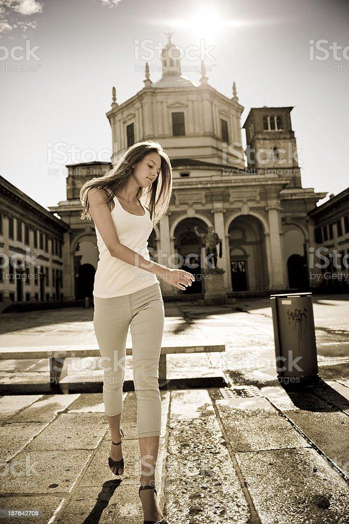 Beautiful Young Woman Urban Backlight royalty-free stock photo