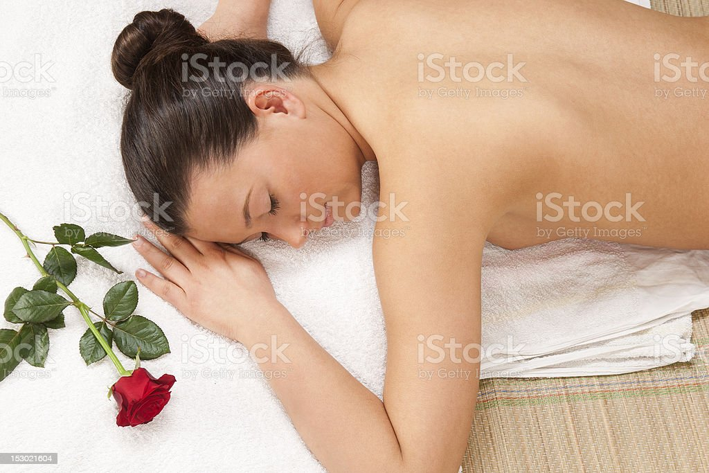 beautiful young woman waiting spa massage royalty-free stock photo