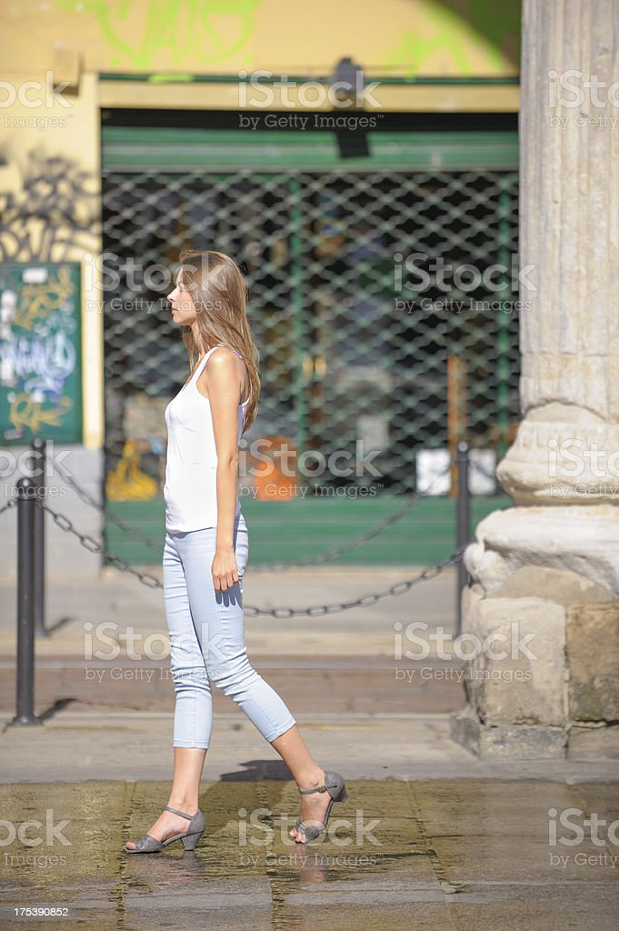 Beautiful Young Woman walking stock photo