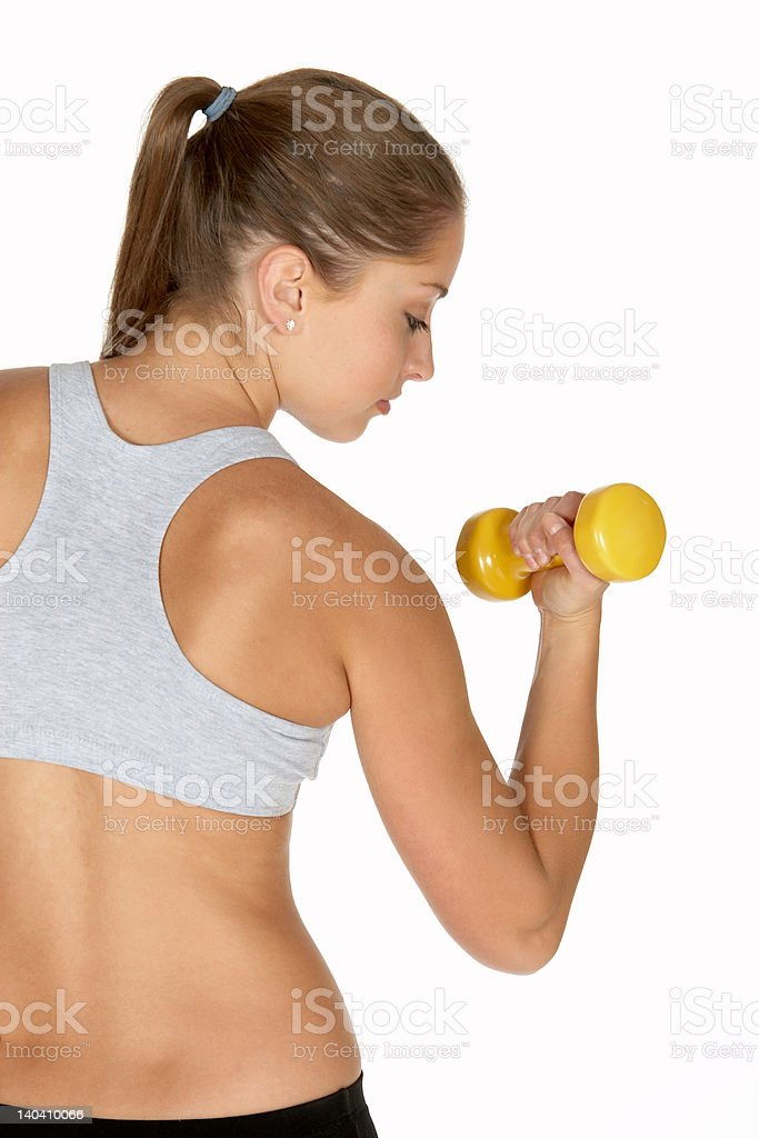 Beautiful Young Woman Watching  Bicep Curl royalty-free stock photo