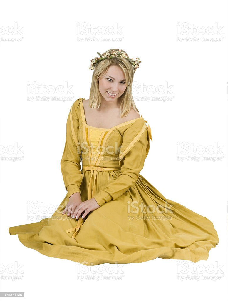 Beautiful Young Woman Wearing a Renaissance Period Halloween Costume royalty-free stock photo