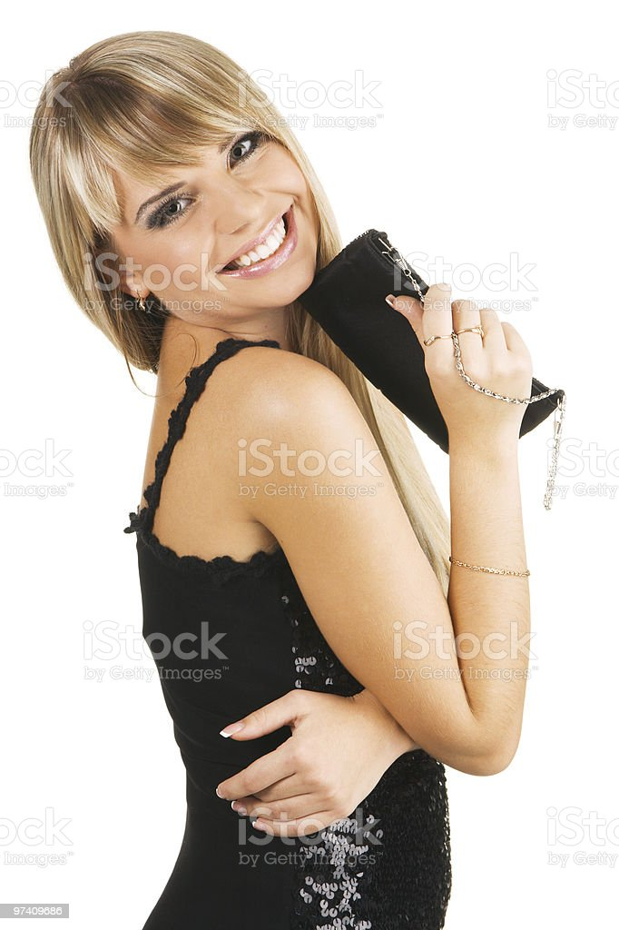 Beautiful young woman with a fancy-bag stock photo