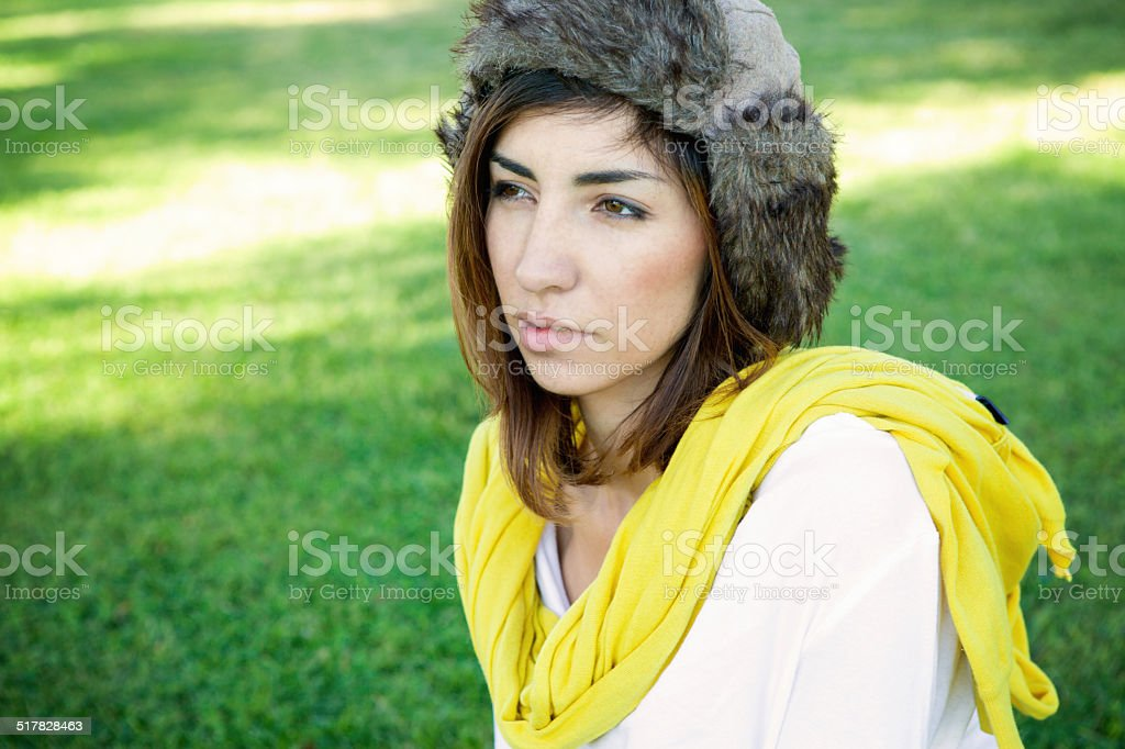 Beautiful Young Woman With a Fur Hat stock photo