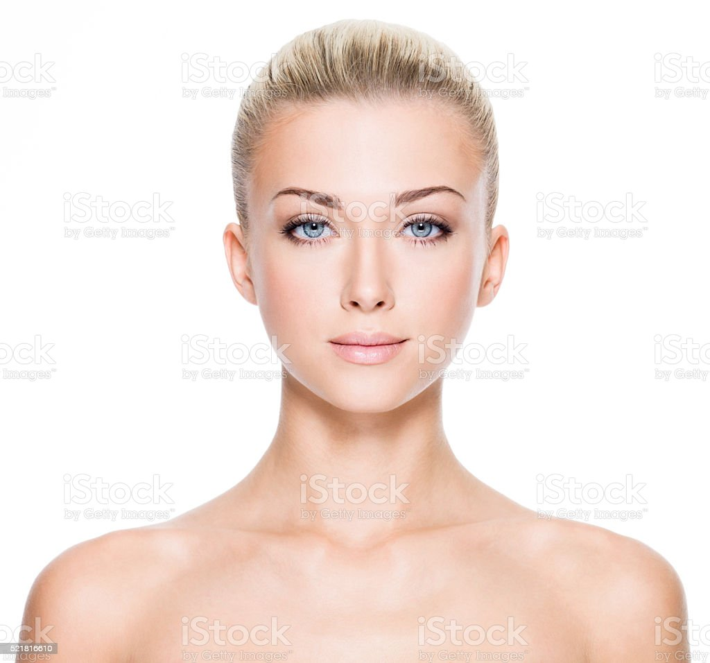 Beautiful young woman with beautiful blue eyes stock photo