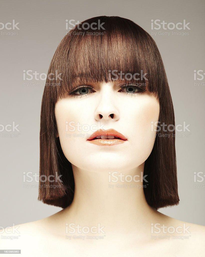 Beautiful Young Woman With Bob Haircut stock photo