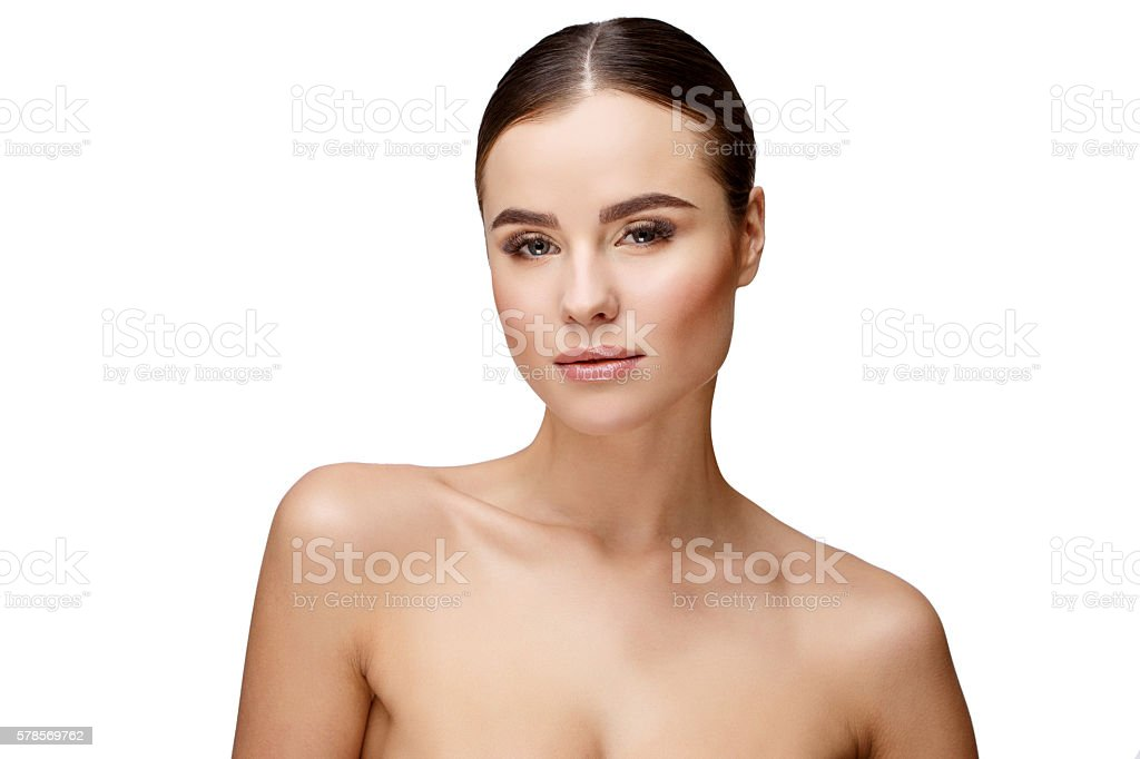 Beautiful Young Woman with Clean Fresh Skin stock photo