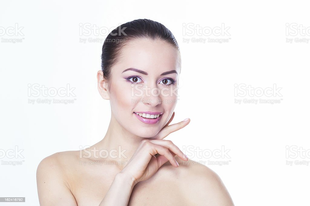 Schöne Junge Frau mit saubere Haut Lächeln Lizenzfreies stock-foto