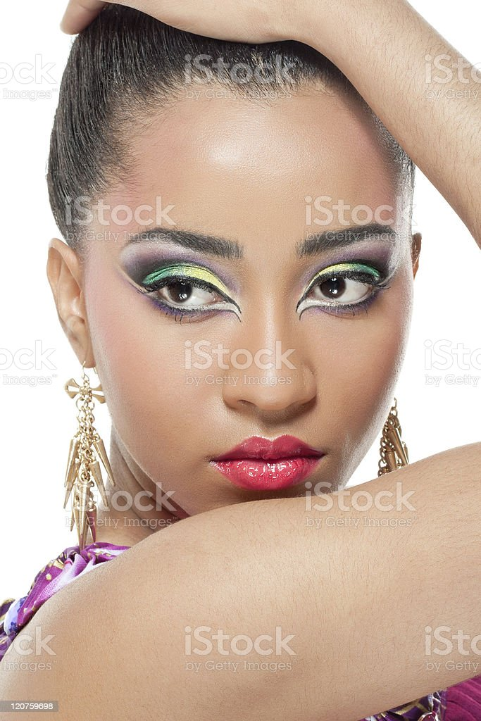 Beautiful young woman with colorful makeup royalty-free stock photo