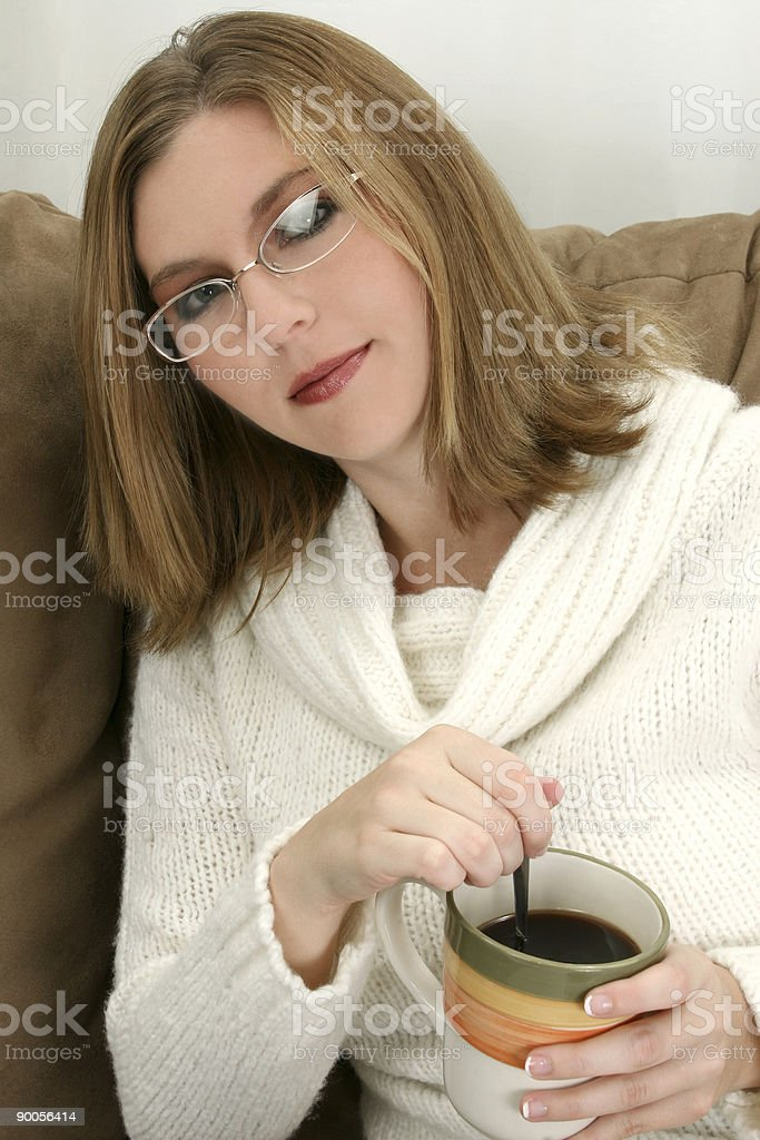 Beautiful Young Woman with Cup of Coffee royalty-free stock photo