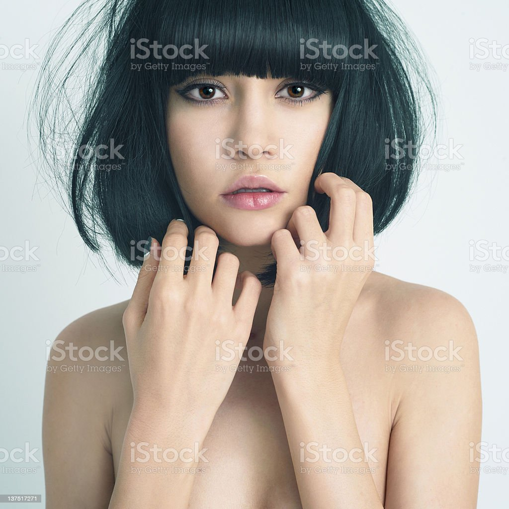 Beautiful young woman with cute short haircut royalty-free stock photo
