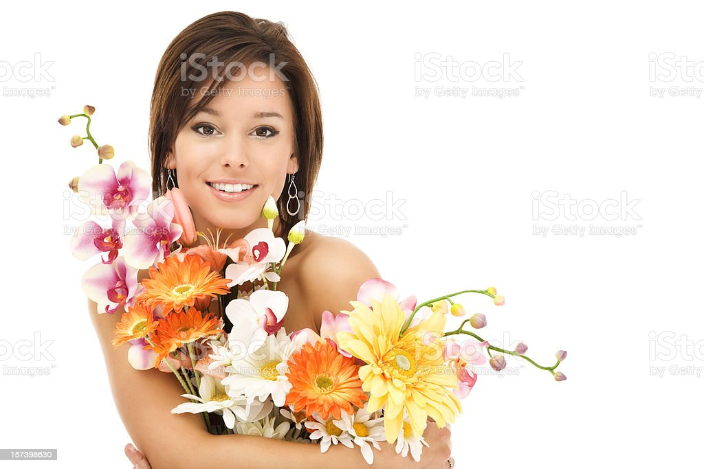 Beautiful Young Woman with Flowers royalty-free stock photo