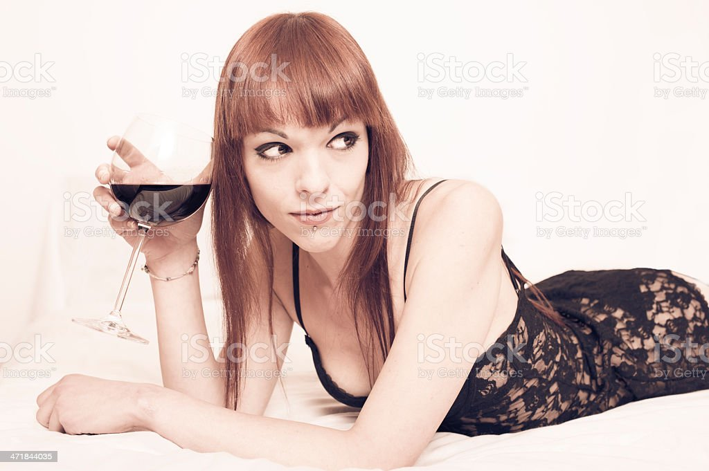 beautiful young woman with glass royalty-free stock photo