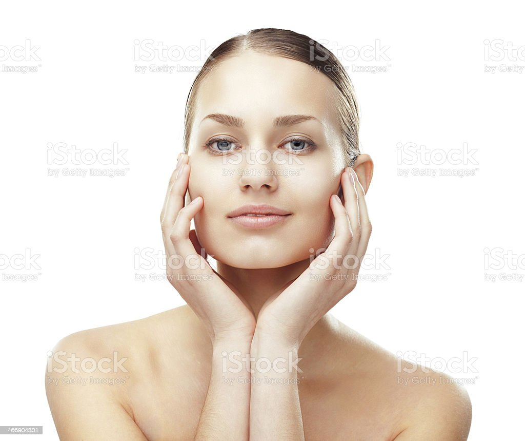 Beautiful young woman with healthy clean skin stock photo
