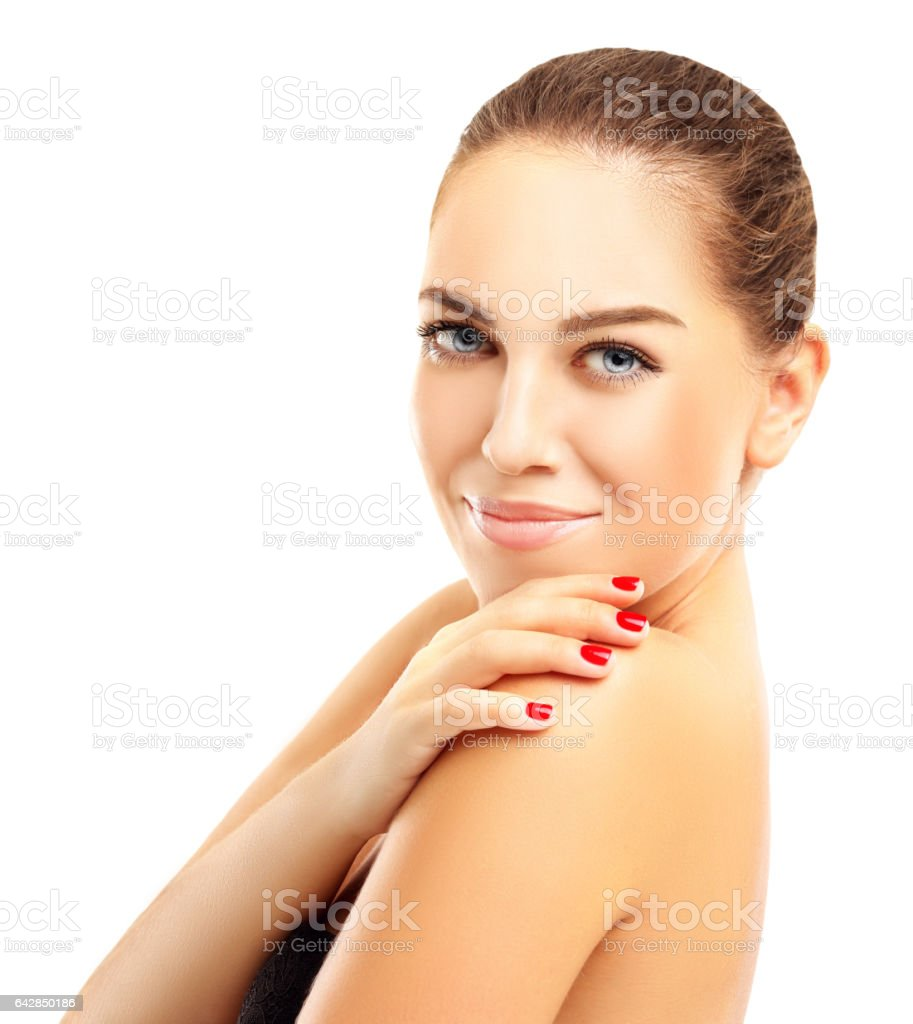 Beautiful young woman with healthy clean skin. stock photo