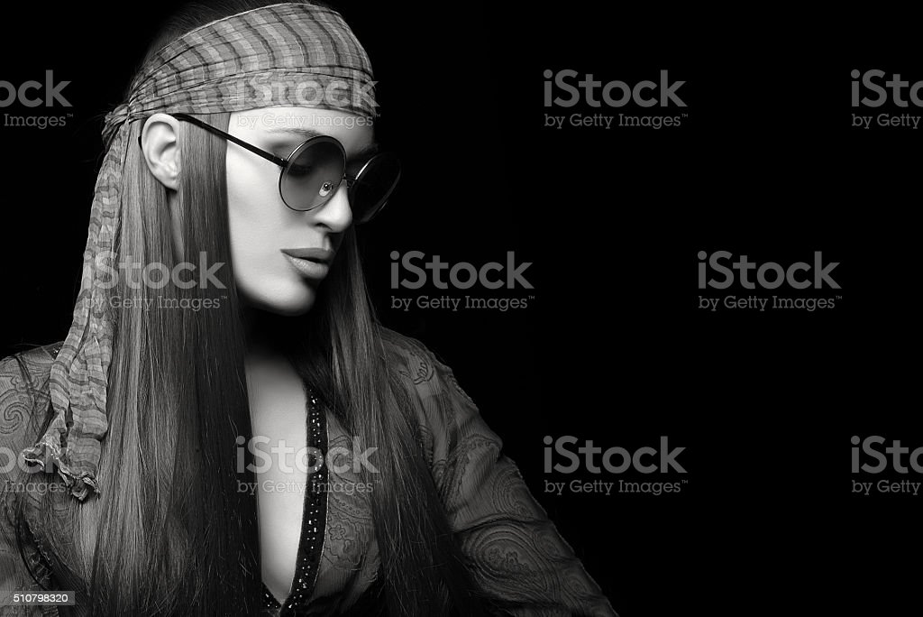 Beautiful Young Woman with Healthy Long Straight Hair. Hippie St stock photo