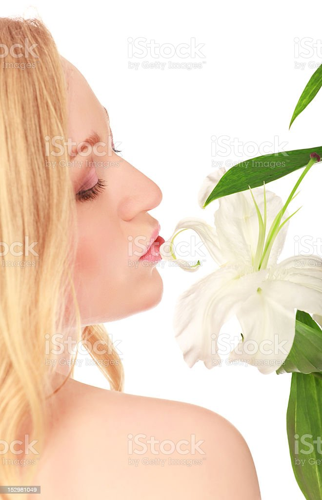 Beautiful Young Woman With Lily Flower royalty-free stock photo