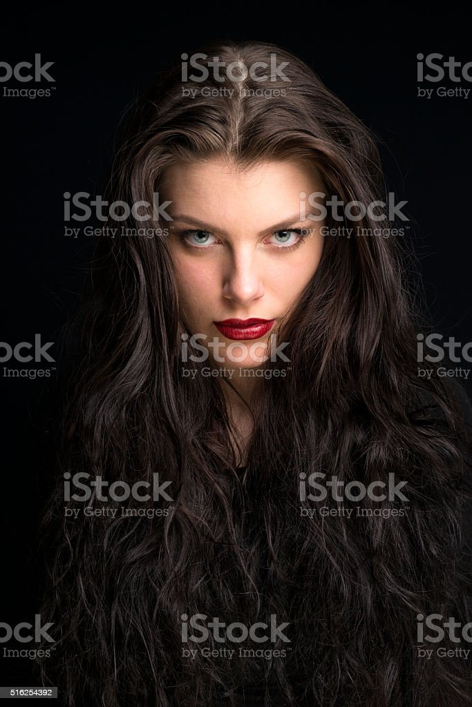 beautiful young woman with long brown hair portrait stock photo