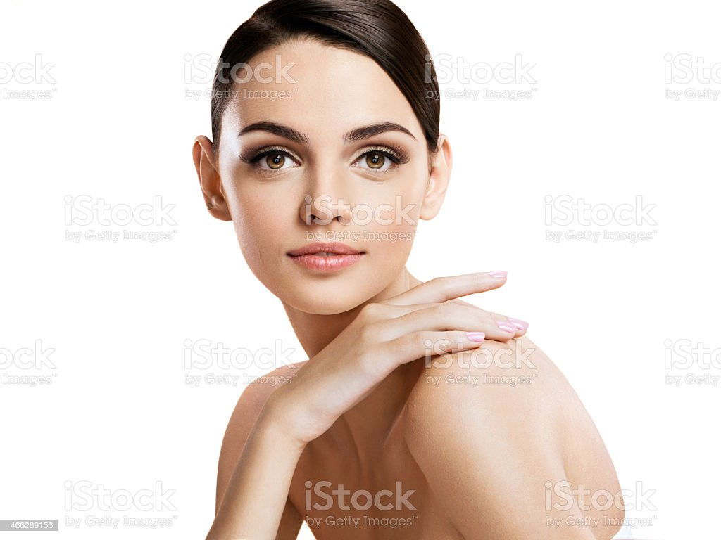 Beautiful young woman with make up face stock photo