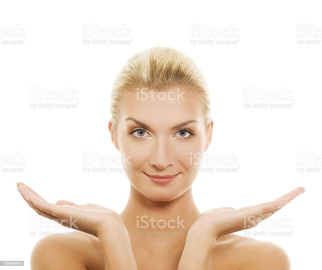 Beautiful young woman with outstretched hands royalty-free stock photo