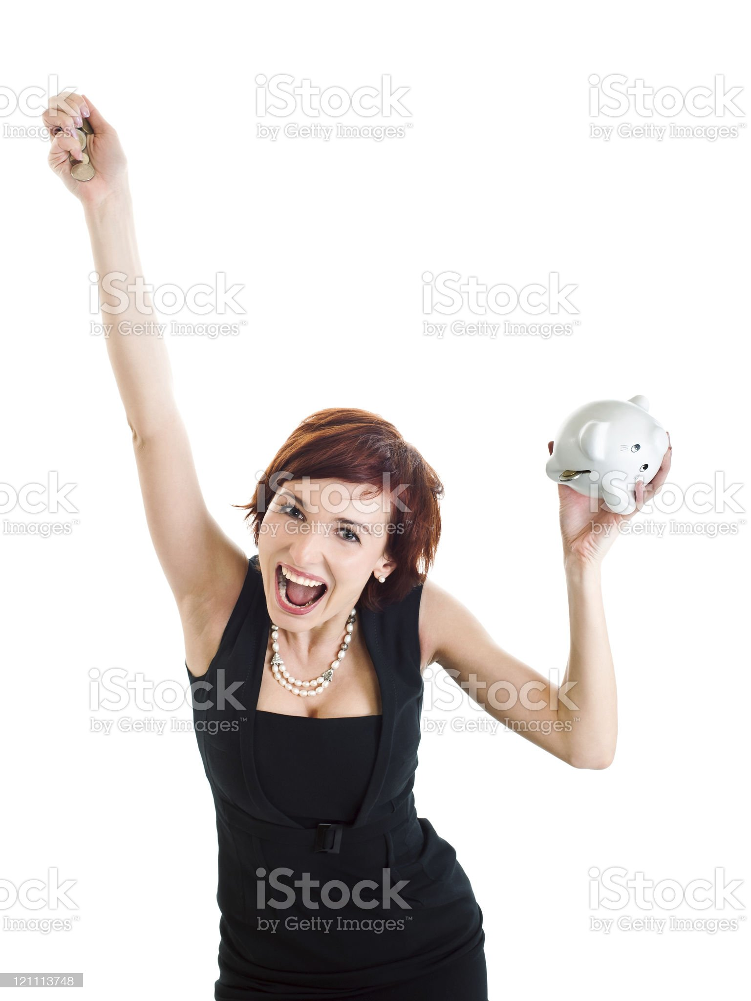 beautiful young woman with piggy bank against white background royalty-free stock photo