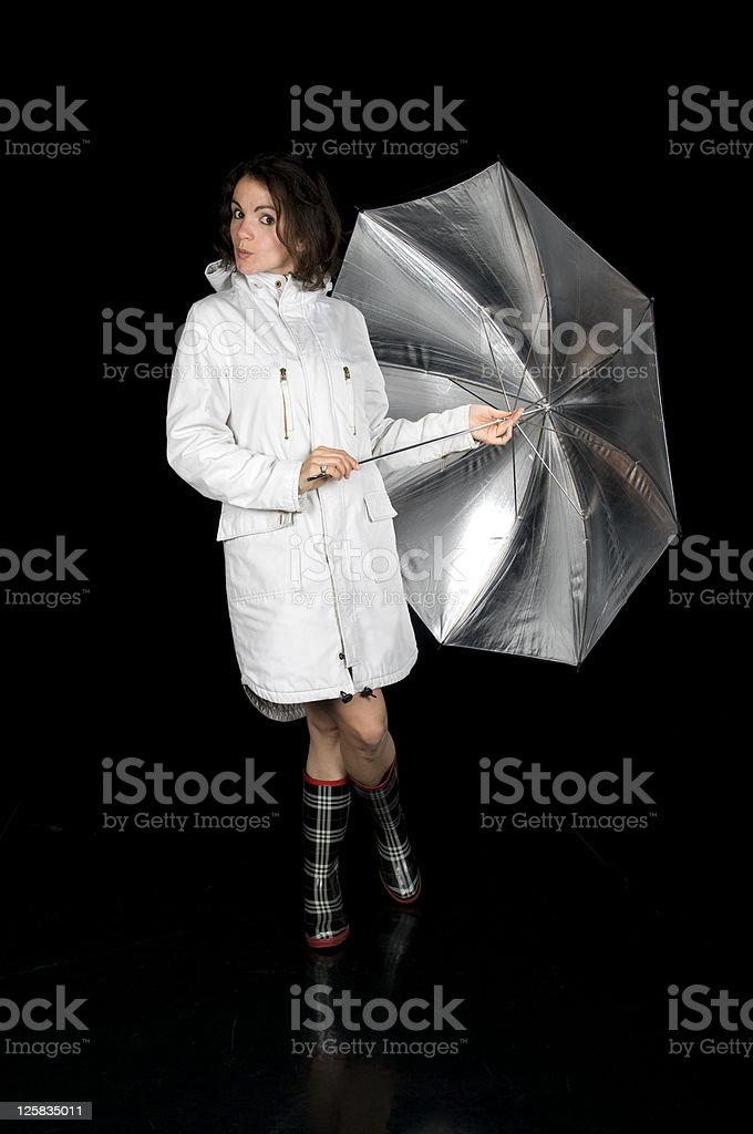 Beautiful Young Woman With Silver Umbrella royalty-free stock photo