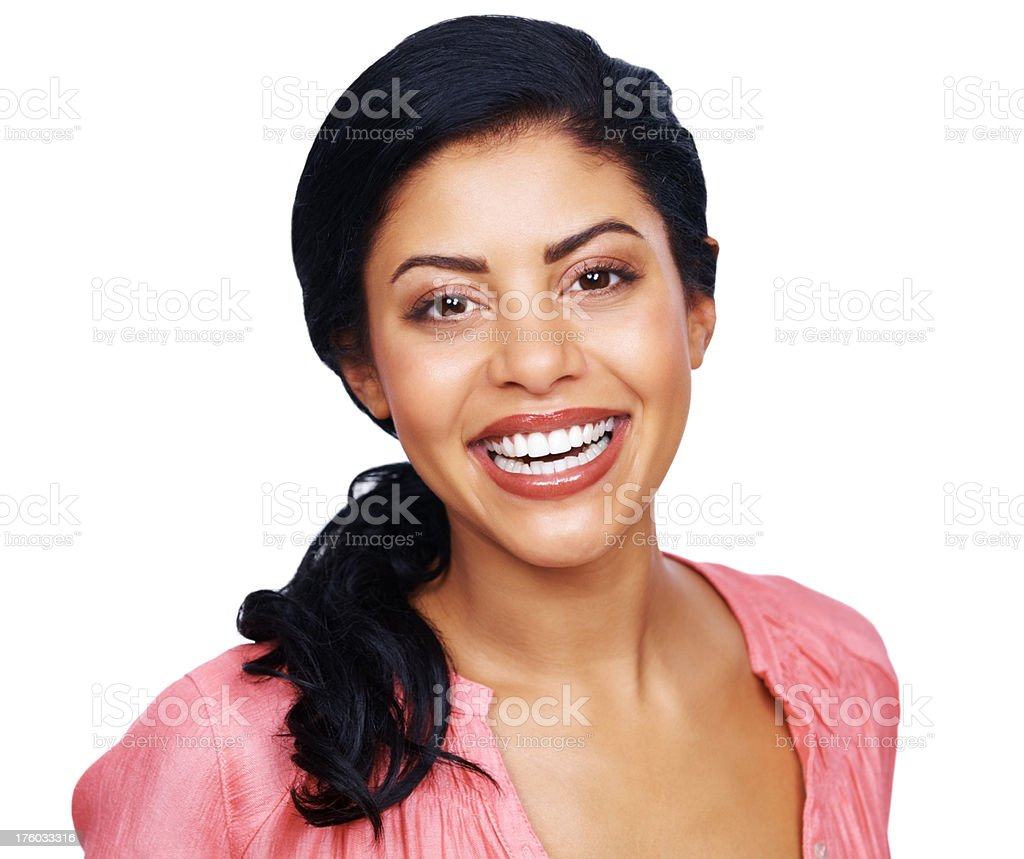 Beautiful young woman with sweet smile against white stock photo