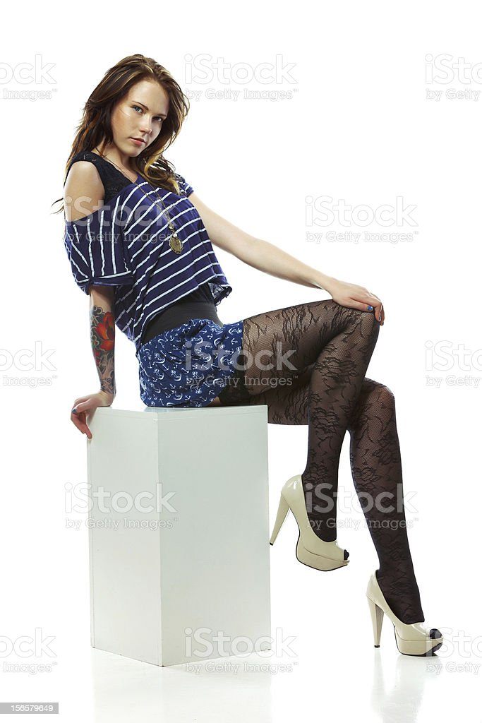 Beautiful young woman with tattoo royalty-free stock photo