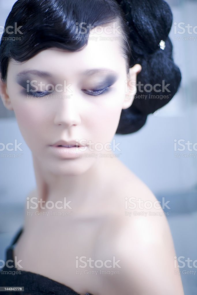 Beautiful young woman with the closed eyes royalty-free stock photo