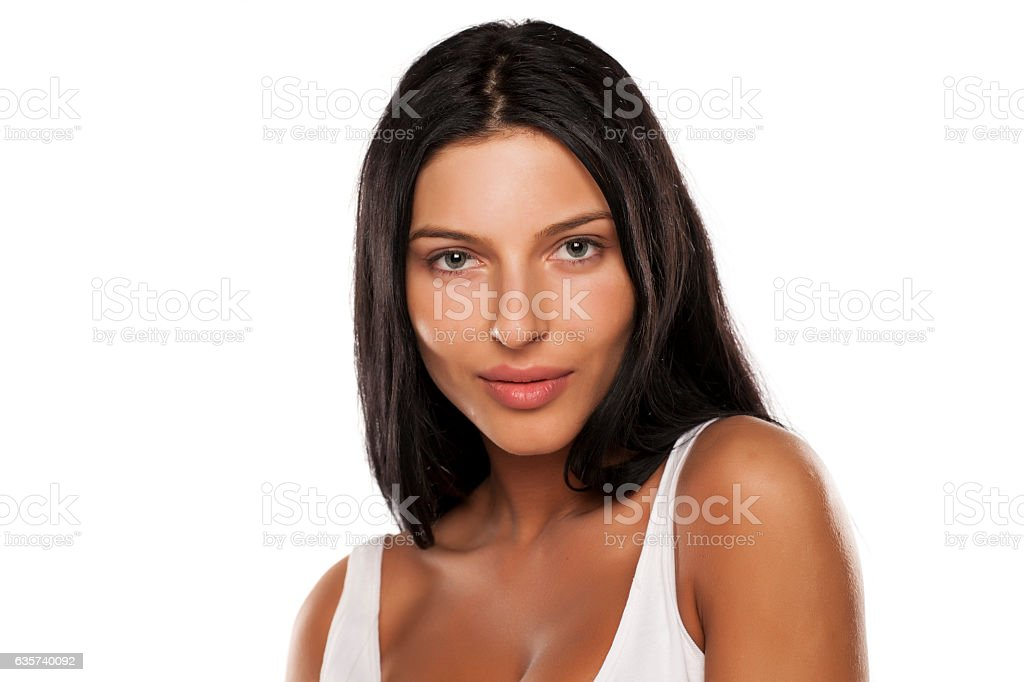 beautiful young woman without make-up stock photo