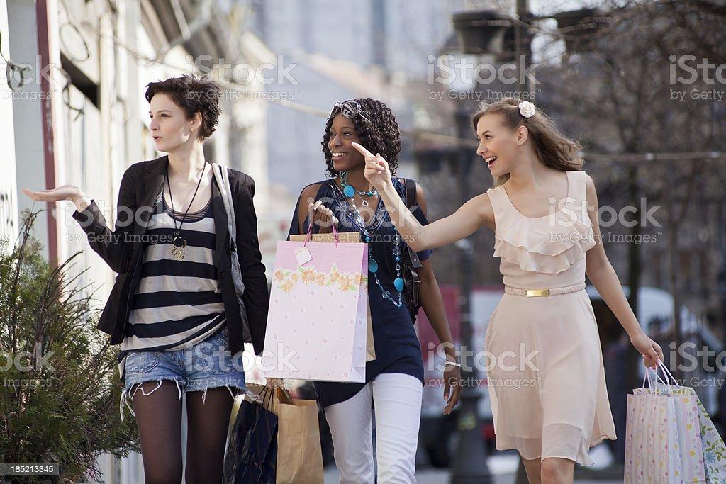 Beautiful young women shopping royalty-free stock photo