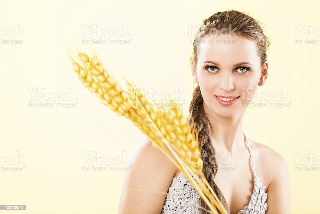 Beautiful Young Women with Wheat royalty-free stock photo