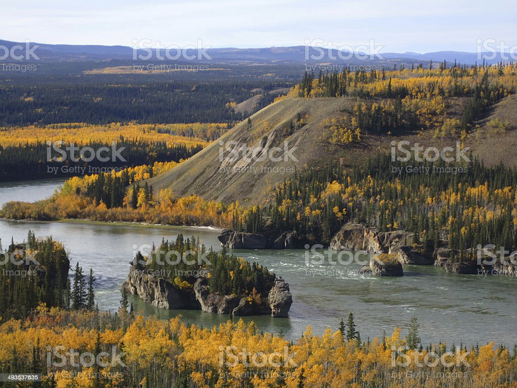 Beautiful Yukon river stock photo