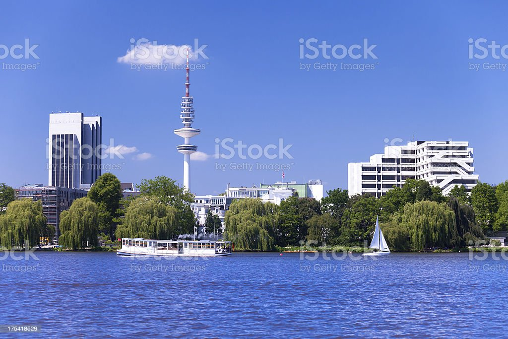 Beautifull Alster in the summer stock photo