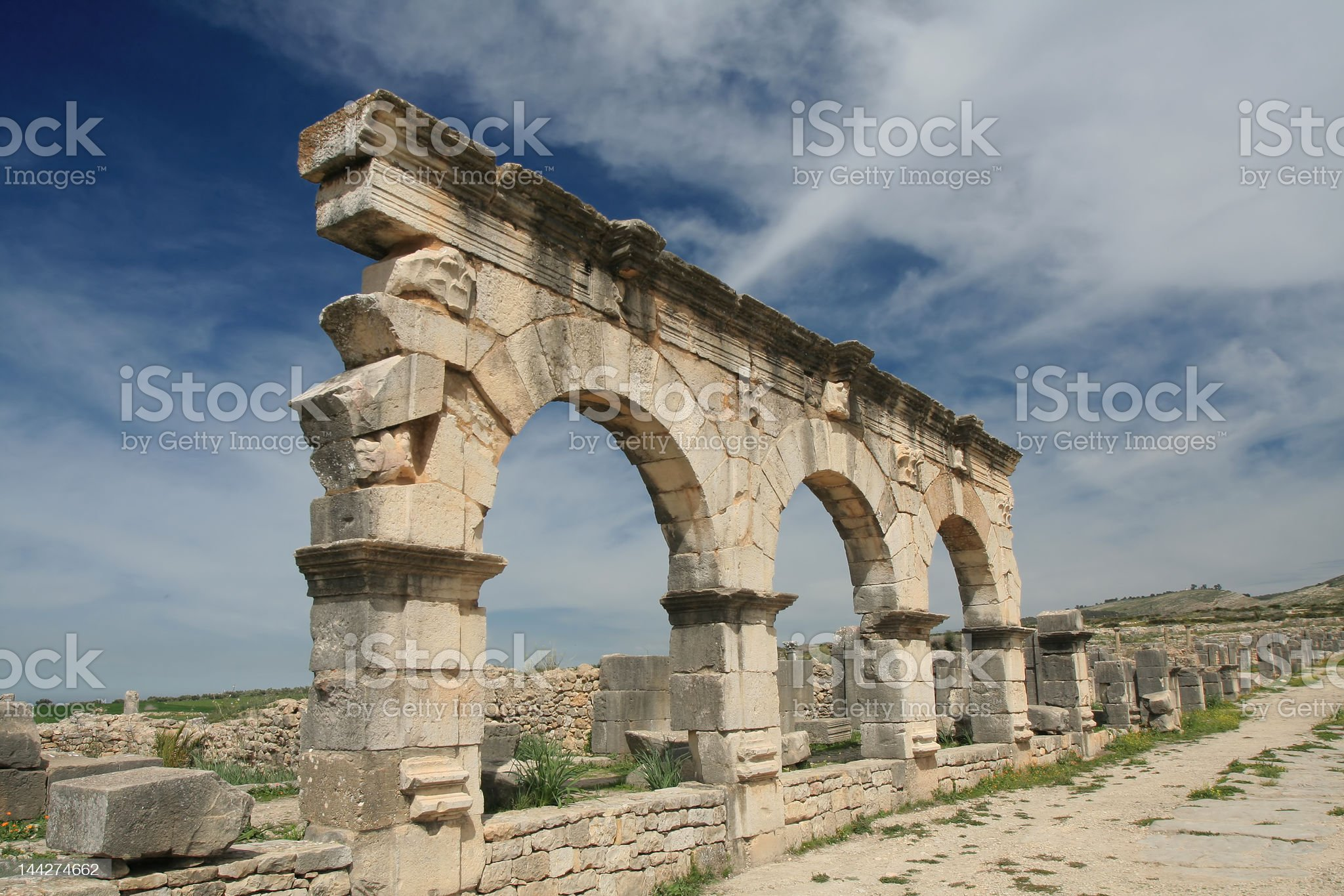 Beautifull and mystical view of ancient roman archs in Volubilis royalty-free stock photo