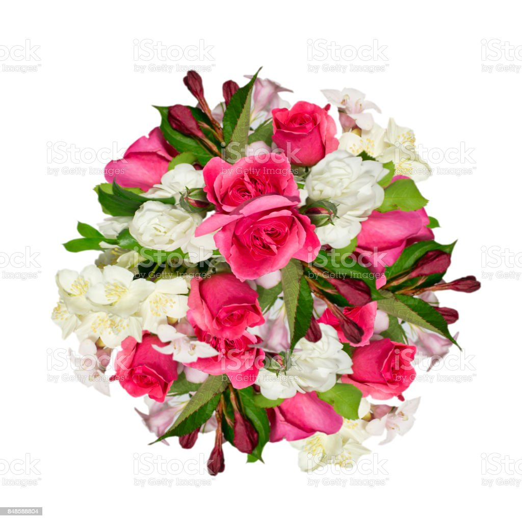 Beautifull bouquet  of jasmine and  pink rozes flowers on a white background stock photo