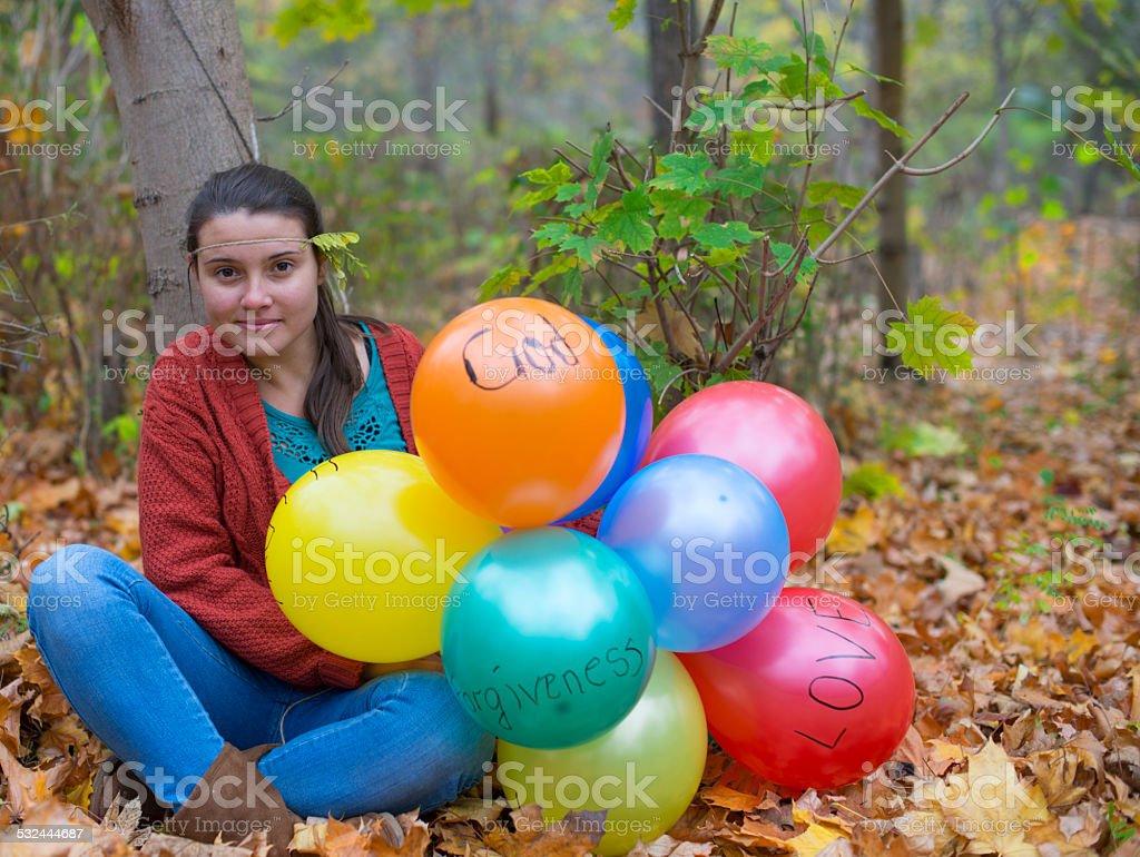 Beautifull girl with her ballons stock photo