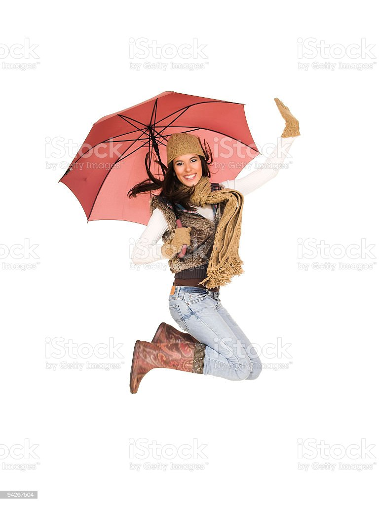 Beautifull girl with umbrella stock photo