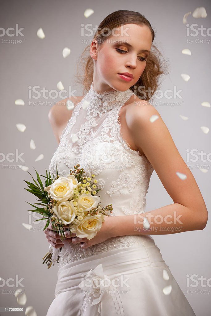 Beautifull model in wedding dress with clean background royalty-free stock photo