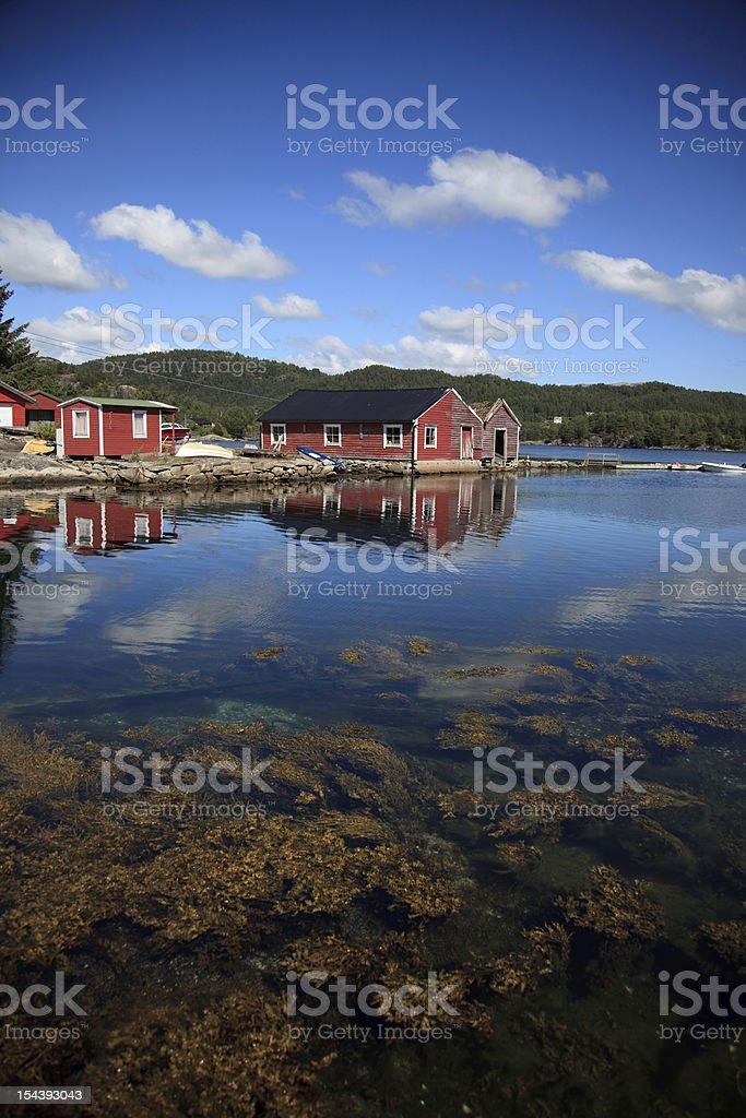 Beautifull Norway, bay  with boats and underwater foliage royalty-free stock photo