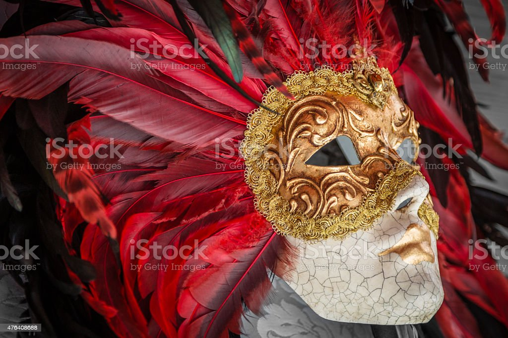 Beautifull Ornate carnival mask for sale in Venice, Italy stock photo