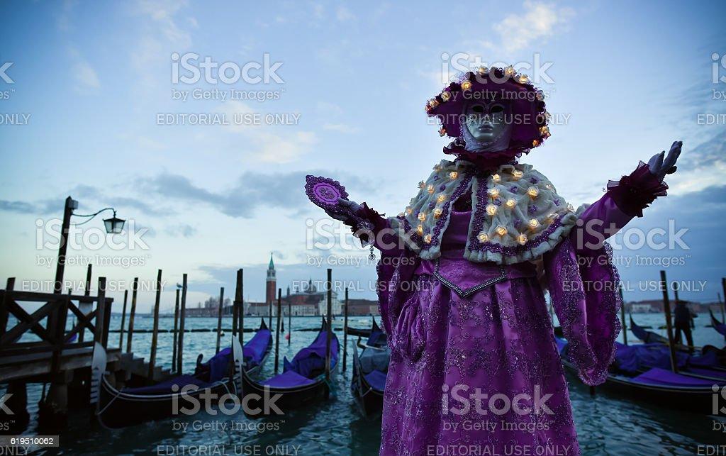 Beautifull Venetian masked model from the Venice Carnival 2015 stock photo